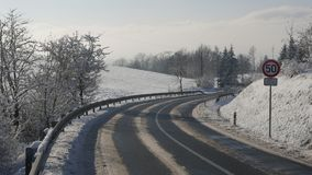 Winter in the forested mountain area of the Polish-Czech border. Royalty Free Stock Photo