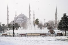 Winter fountain in the square. Near the mosque of Aya Sofia stock image