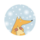 Winter fox. Christmas card. Stock Image