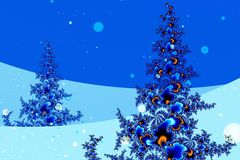 Winter in fractal land. Pine trees on snowy hills generated by fractals stock illustration