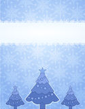Winter frame. Blue winter frame with snowflake and christmas tree Royalty Free Stock Image