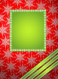 Winter frame. Green winter frame with snowflake Royalty Free Stock Photos