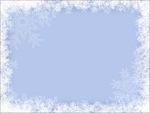 Winter Frame. Light-Blue Winter Frame With Different Snowflakes Royalty Free Stock Photos