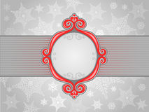 Winter frame. Red winter frame with grey snowflake Stock Photos