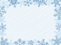 Winter Frame. Light-Blue Winter Frame With Different Snowflakes Stock Images