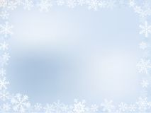 Winter Frame. Light-Blue Winter Frame With Different Snowflakes Royalty Free Stock Photo