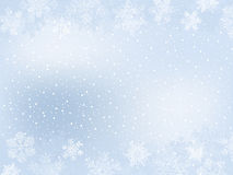 Winter Frame. Light-Blue Winter Frame With Different Snowflakes on Snow-Covered Background Royalty Free Stock Photos