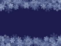 Winter Frame. Blue Winter Frame With Different Snowflakes Stock Image