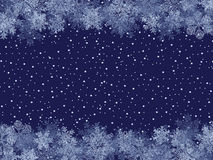 Winter Frame. Blue Winter Frame With Different Snowflakes on Snow-Covered Background Stock Photography