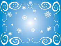 Winter frame. Blue background with white frame and flakes for the winter season Stock Image