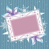 Winter frame. Abstract winter frame made from frozen flowers, snowflakes and small christmas trees Stock Photography
