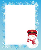 Winter frame. Frame with snowman, winter elements Stock Photo