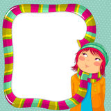 Winter frame. Frame with a girl wearing a colorful scarf Stock Photos