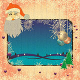 Winter frame. Colorful winter frame with Christmas balls, snowflakes, fireworks, green fir trees and Santa Claus watching in the corner Royalty Free Stock Photos