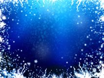 Winter frame background, with stars and snowflakes Royalty Free Stock Photography