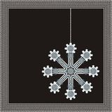Winter frame with beautiful snowflake Stock Photos