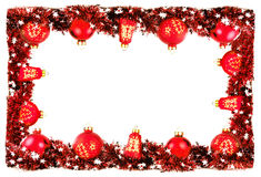 Winter frame border background with red balls and garland Stock Image
