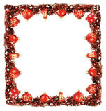 Winter frame border background with red balls and garland Stock Photo