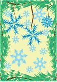 Winter frame with branch of christmas-tree Royalty Free Stock Image