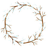 Winter frame with branches of tree and snow. Seasonal illustration Royalty Free Stock Image