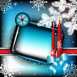 Winter frame with candles. Colorful winter frame with two red candles, white fir branch, and various snowflakes Stock Photography