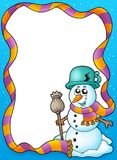 Winter frame with cute snowman Royalty Free Stock Images