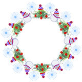 Winter Frame. Decorated Christmas trees, snowmen and snowlakes arranged in a shape of the ring. Vector design.  Stock Image