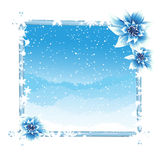 Winter frame with ice flowers Stock Photos