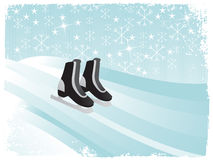 Winter frame with ice skate, illustration Royalty Free Stock Images