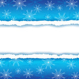 Winter frame with paper and snowflakes Royalty Free Stock Photo