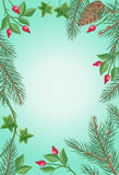 Winter Frame with Rose Hips, Pine Branches, Ivy. Winter frame with rose hips, pine tree branches with cones and ivy leaves. Spare place for your text. For vector illustration