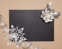 Winter frame with silver bow Royalty Free Stock Image