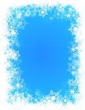 Winter frame snow. Winter frame with snow flakes on the edges, the gradient of the sky in the center Royalty Free Stock Photo