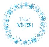 Winter frame with snowflakes. Art hand drawn winter frame with snowflakes and snow Royalty Free Stock Image