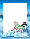 Winter frame with snowman family Royalty Free Stock Image