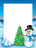 Winter frame with snowman and tree Royalty Free Stock Images