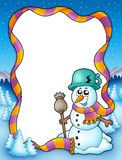 Winter frame with snowman and trees Royalty Free Stock Image
