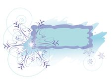 Winter frame with violet snowflakes Royalty Free Stock Photo
