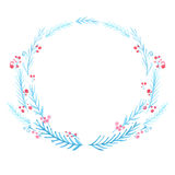 Winter frame, watercolor wreath. Hand painted blue Stock Photos