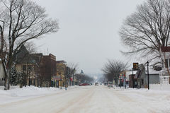 Winter Frankfort Michigan Street Scene Stock Photography