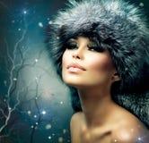 Winter-Frauen-Porträt Stockfoto
