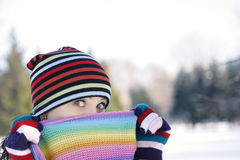 Winter Freeze. Girl in the park in winter person zakrla scarf Stock Image