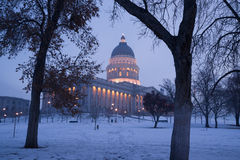 Winter Freeze Sunrise Landscape Utah State Capital Stock Photography