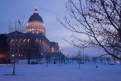 Winter Freeze Sunrise Landscape Utah State Capital Stock Photography