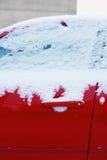 Winter freezing car window, frozen vehicle Stock Images