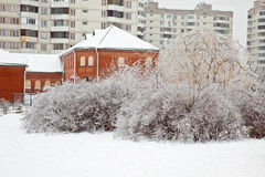 After the winter freezing rain. Urban landscape Royalty Free Stock Photos