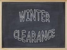 Winter-Freigabenfleisch geschrieben auf eine Tafel Stockfoto