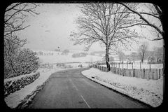 Winter French Road. Winter scene french winding road Royalty Free Stock Image