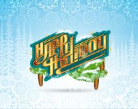 Winter frost landscape with happy holiday lettering on banner. Christmas horizontal background stock illustration
