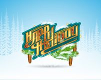 Winter frost landscape with happy holiday lettering on banner with fir tree branch royalty free illustration